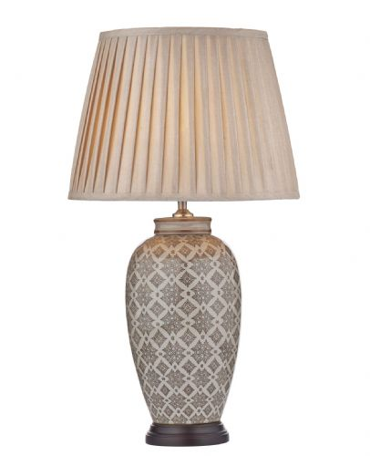 Dar Louise Table Lamp Brown/Cream Base Only LOU4229 (Class 2 Double Insulated)